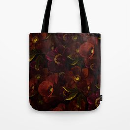 Mystical Night Rose & Poppy Garden Tote Bag