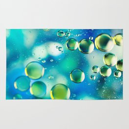 Macro Water Droplets  Aquamarine Soft Green Citron Lemon Yellow and Blue jewel tones Rug
