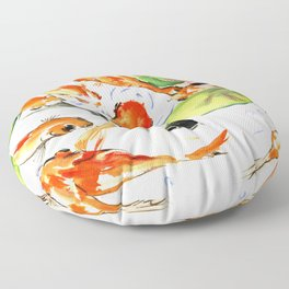 Koi Fish Pond, Feng Shui 9 koi fish art Floor Pillow