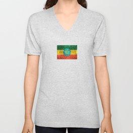 Vintage Aged and Scratched Ethiopian Flag Unisex V-Neck