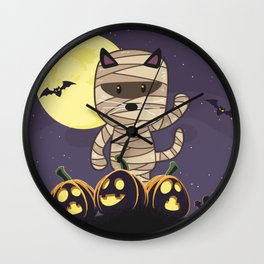 Cute Spooky Cat Mummy Jack O Lantern Pumpkin Halloween Wall Clock