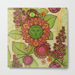 Hand Drawn Floral & Mandala 05 Metal Print