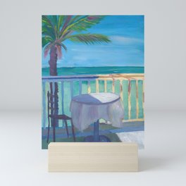 Seaview Cafe Table at the Caribbean With Palm Mini Art Print