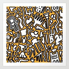 black doodle on orange Art Print