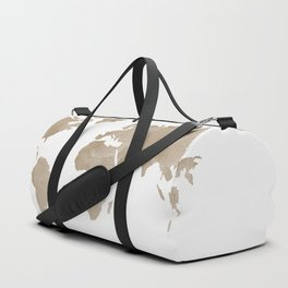 World Map - Beige Watercolor Minimal on White Duffle Bag