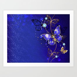 Blue Background with Sapphire Butterfly Art Print