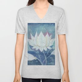 Abstract Lotus Art Acrylic Painting Reproduction by Kimberly Schulz Unisex V-Neck