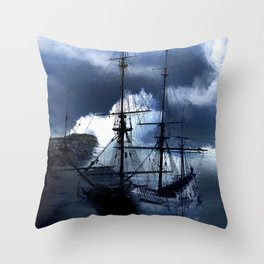 Old sailing ship on stormy sea Throw Pillow