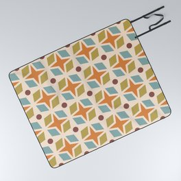Mid Century Modern Abstract Star Dot Pattern 441 Orange Brown Blue Olive Green Picnic Blanket
