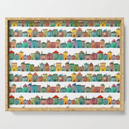Watercolor Town Serving Tray