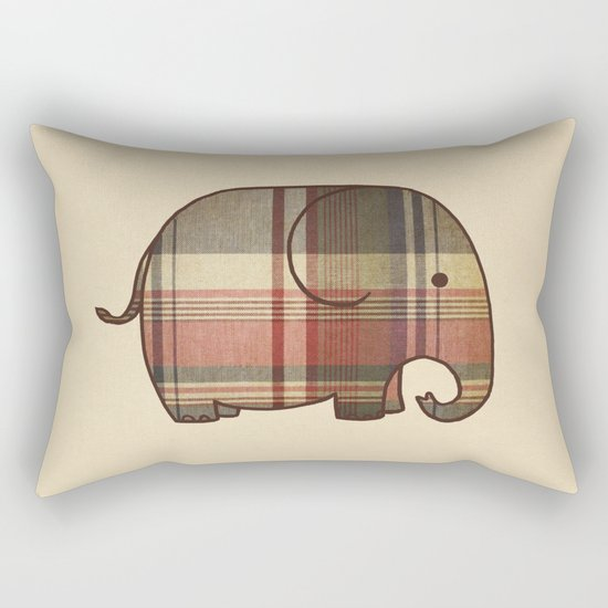 Plaid Elephant  Rectangular Pillow