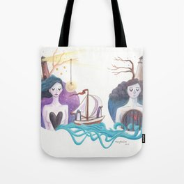 Girl With Dreamy Lighthouse Sending Ocean to Boy with Caged Heart Tote Bag
