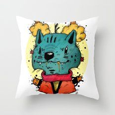 Wolfy (Color Version) Throw Pillow