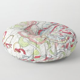 Vintage Map of the Mississippi River Floor Pillow