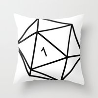dungeons and dragons Throw Pillows featuring Fumble - Dungeons & Dragons for Dummies by oneeye01