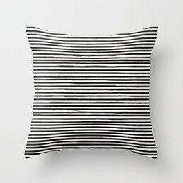 Skinny Stroke Horizontal Black on Off White Throw Pillow