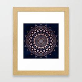 Boho rose gold floral mandala on navy blue watercolor Framed Art Print