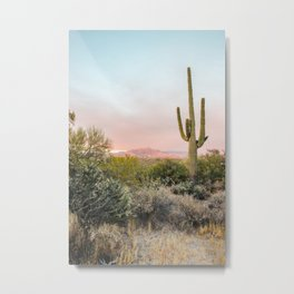 Desert Mountains Saguaro Cactus Blue & Pink Sunset Phoenix Arizona Metal Print