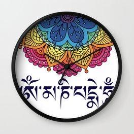 Om Mani Padme Hum Mantra Flower  Wall Clock
