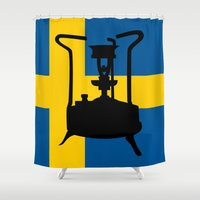 sweden Shower Curtains featuring Sweden flag | Pressure stove by mailboxdisco