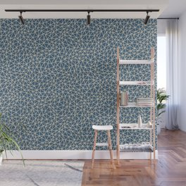Blue & Beige Abstract Multi Sized Triangle Pattern Pairs To 2020 Color of the Year Chinese Porcelain Wall Mural