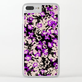 purple canary creeper flower with silhouette leaves on black Clear iPhone Case