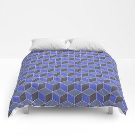 Blue Indigo Isometric Cubes Comforters