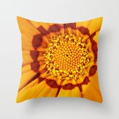 Orange Sun - gazania flower 3509 Throw Pillow