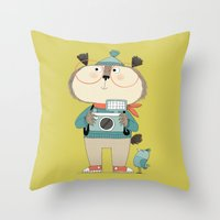 photographer Throw Pillows featuring photographer by kate hindley