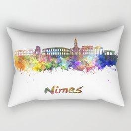 Nimes skyline in watercolor  Rectangular Pillow