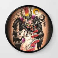 tits Wall Clocks featuring Baphomet....With Tits by kate collins