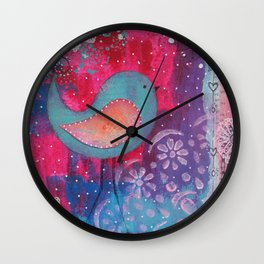 Whimsical Bird Mixed Media Wall Clock