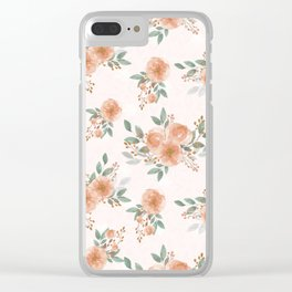 Pink Flowers with Berries Pattern Clear iPhone Case