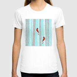 Holiday Forest Cardinals Design T-shirt
