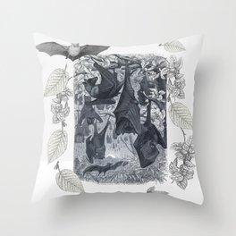 Autumn Bats Black & White Throw Pillow