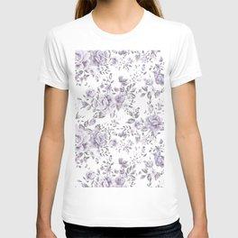 FLORAL VINTAGE ROSES MAUVE WHITE T-shirt