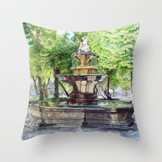 Old Fountain at Split, Croatia Throw Pillow