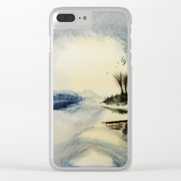 Blue lake house Clear iPhone Case