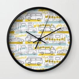 Wanderlust on the road Wall Clock