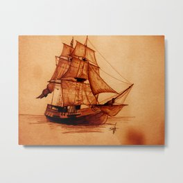 Interceptor Ship Sketch Metal Print