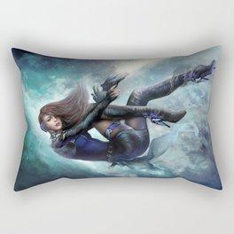 Espionage 101 - Futuristic sci-fi girl spy Rectangular Pillow
