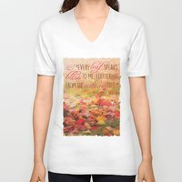 poem V-neck T-shirts featuring Autumn Leaves Poem by Graphic Tabby