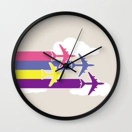 Colorful airplanes Wall Clock
