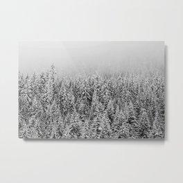 Black and White Snowy trees Metal Print