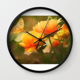 Flowers & Butterflies Wall Clock