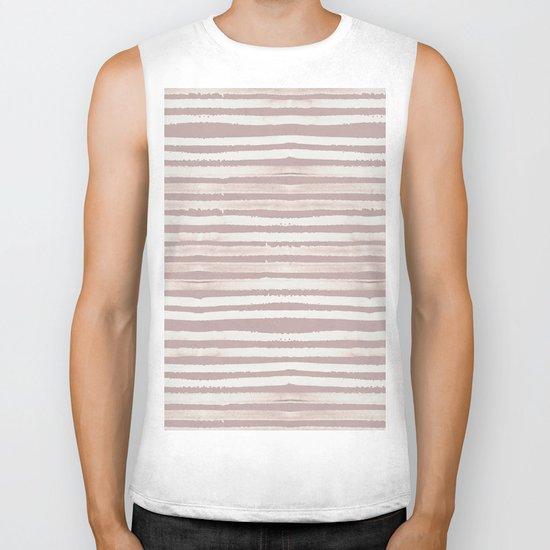 Simply Shibori Stripes Lunar Gray on Clay Pink Biker Tank