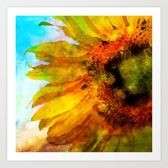 Sunflower on colorful watercolor background- Flowers on #Society6 Art Print