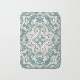 Teal and grey dirty denim textured boho pattern Bath Mat