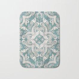 Teal and grey dirty denim textured boho pattern Bath Mat