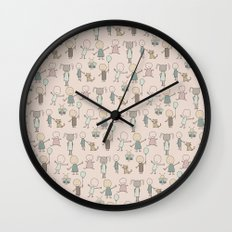 Children Playing-on Peach Wall Clock